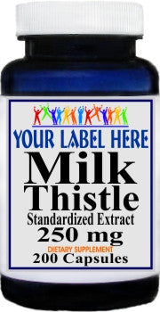 Private Label Milk Thistle Standardized Extract 250mg 200caps Private Label 12,100,500 Bottle Price
