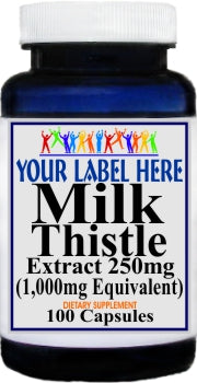 Private Label Milk Thistle (Silymarin) Extract  Equivalent 1000mg 100caps or 200caps Private Label 12,100,500 Bottle Price