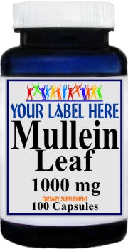 Private Label Mullein Leaf 1000mg 100caps or 200caps Private Label 12,100,500 Bottle Price