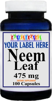 Private Label Neem Leaf 475mg 100caps Private Label 12,100,500 Bottle Price