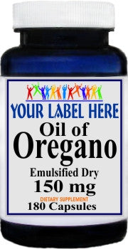 Private Label Oil of Oregano 150mg Emulsified Dry 180caps Private Label 12,100,500 Bottle Price