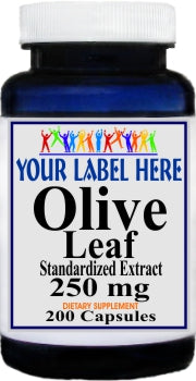 Private Label Olive Leaf Standardized Extract 250mg 200caps Private Label 12,100,500 Bottle Price