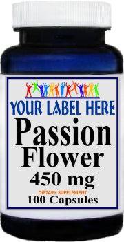 Private Label Passion Flower 450mg 100caps Private Label 12,100,500 Bottle Price