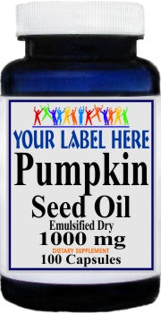 Private Label Pumpkin Seed Oil 1000mg Emulsified Dry 100caps or 200caps Private Label 12,100,500 Bottle Price