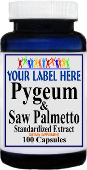 Private Label Pygeum and Saw Palmetto Standardized Extract 100caps or 200caps Private Label 12,100,500 Bottle Price