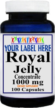 Private Label Royal Jelly Concentrate 1000mg 100caps or 200caps Private Label 12,100,500 Bottle Price