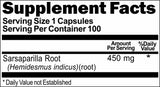 Private Label Sarsaparilla Root 450mg 100caps Private Label 12,100,500 Bottle Price