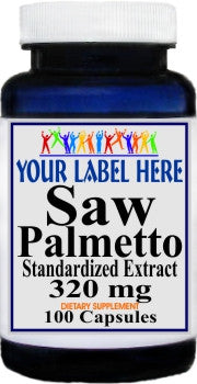 Private Label Saw Palmetto Standardized Extract 320mg 100caps or 200caps Private Label 12,100,500 Bottle Price