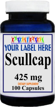 Scullcap 425mg 100caps Private Label 25,100,500 Bottle Price