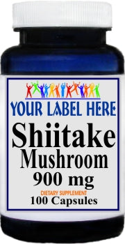 Private Label Shiitake Mushroom 900mg 100caps or 200caps Private Label 12,100,500 Bottle Price