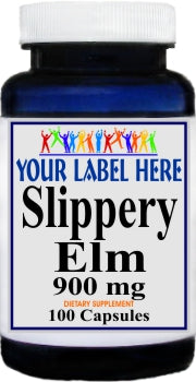 Private Label Slippery Elm Bark 900mg 100caps or 200caps Private Label 12,100,500 Bottle Price