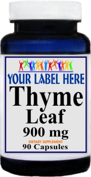 Private Label Thyme Leaf 900mg 90caps Private Label 25,100,500 Bottle Price