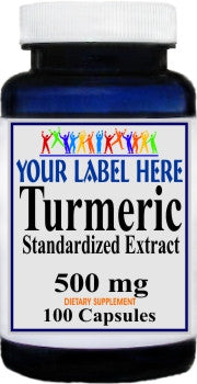 Turmeric Standardized Extract 500mg 100caps Private Label 25,100,500 Bottle Price