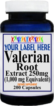 Private Label Valerian Root Extract Equivalent 1000mg 200caps Private Label 12,100,500 Bottle Price