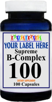 B-Complex 100 100caps or 200caps Private Label 25,100,500 Bottle Price