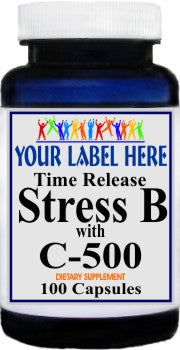 Private Label Stress B with Vitamins C 500 100caps or 200caps Private Label 12,100,500 Bottle Price