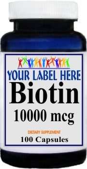 Biotin 10000mcg 100caps or 200caps Private Label 25,100,500 Bottle Price