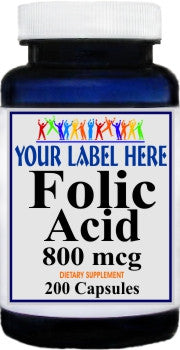 Private Label Folic Acid 800mcg 200caps Private Label 12,100,500 Bottle Price