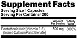 Private Label Pantothenic Acid 500mg 100caps or 200caps Private Label 12,100,500 Bottle Price