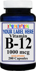 Private Label B-12 Vitamins 1000mcg 200caps Private Label 12,100,500 Bottle Price