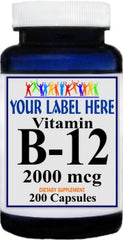 Private Label B-12 Vitamins 2000mcg 200caps Private Label 12,100,500 Bottle Price