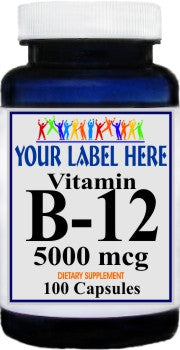 B-12 Vitamins 5000mcg 100caps or 200caps Private Label 25,100,500 Bottle Price