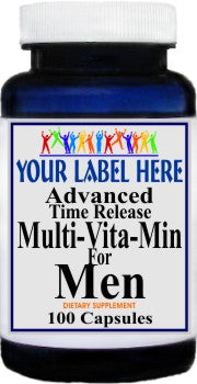 Private Label Advanced Multi-Vit-Min Time Release for Men 100caps or 200caps Private Label 12,100,500 Bottle Price