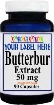 Private Label Butterbur Standardized Extract 50mg 90caps or 180caps Private Label 12,100,500 Bottle Price