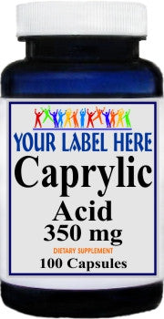 Caprylic Acid 350mg 100caps Private Label 25,100,500 Bottle Price