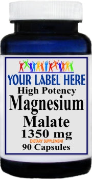 Private Label Magnesium Malate High Potency 1350mg 90caps or 180caps Private Label 12,100,500 Bottle Price