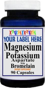 Private Label Magnesium Potassium Aspartate and Bromelain 90caps or 180caps Private Label 12,100,500 Bottle Price