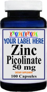 Private Label Zinc Picolinate 50mg 100caps or 200caps Private Label 12,100,500 Bottle Price