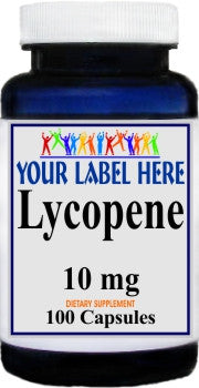 Lycopene 10mg 100caps or 200caps Private Label 100 Bottle Price