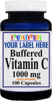 Private Label Buffered Vitamin C 1000mg 100caps or 200caps Private Label 12,100,500 Bottle Price
