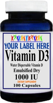 Vitamin D3 (Emulsified Dry) 1000IU 100caps or 200caps Private Label 25,100,500 Bottle Price