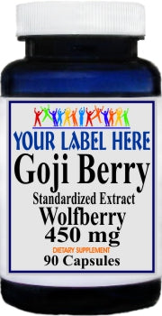 Goji Berry Standardized Extract 450mg 90caps Private Label 25,100,500 Bottle Price