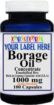 Private Label Borage Oil Concentrate Emulsified Dry 100caps or 200caps Private Label 25,100,500 Bottle Price