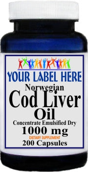 Private Label Norwegian Cod Liver Oil Concentrate 1000mg 200caps Private Label 12,100,500 Bottle Price