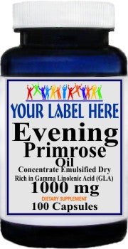 Private Label Evening Primrose Oil Concentrate 1000mg 100caps or 200caps Private Label 25,100,500 Bottle Price