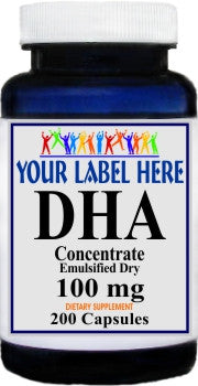 Private Label DHA Fish Oil (Emulsified Dry) 100mg 200caps Private Label 12,100,500 Bottle Price