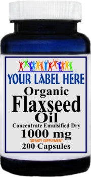 Private Label Organic Flaxseed Oil (Emulsified Dry) 1000mg 200caps Private Label 12,100,500 Bottle Price