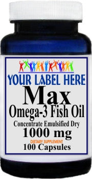 Max Omega 3 EPA Fish Oil 1000mg 100caps or 200caps Private Label 100 Bottle Price