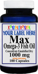 Private Label Max Omega 3 EPA Fish Oil 1000mg 100caps or 200caps Private Label 25,100,500 Bottle Price