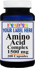 Private Label Amino Acid 1500mg Complex 200caps Private Label 12,100,500 Bottle Price