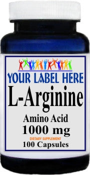 Private Label L-Arginine 1000mg 100caps or 200caps Private Label 12,100,500 Bottle Price