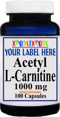 Acetyl L-Carnitine 1000mg 100caps or 200caps Private Label 25,100,500 Bottle Price