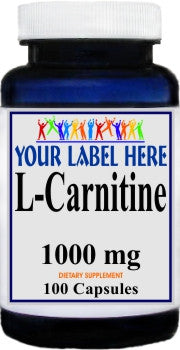 L-Carnitine 1000mg 100caps or 200caps Private Label 100 Bottle Price