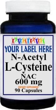 Private Label N-Acetyl Cysteine (NAC) 600mg 90caps or 180caps Private Label 12,100,500 Bottle Price