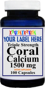Triple Strength Coral Calcium 1500mg 100caps or 200caps Private Label 25,100,500 Bottle Price