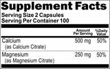 Private Label Calcium and Magnesium Citrate 500mg/250mg 200caps Private Label 12,100,500 Bottle Price